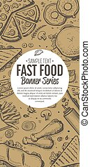 Fast food doodles vertical banner menu