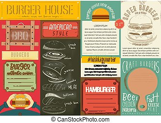 Burger Placemat - Fast Food Drawn Menu Design. Burger...