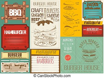 Burger Placemat - Fast Food Drawn Menu Design Colorful....
