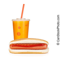 Fast food drink and hot dogs. Isolated on white background
