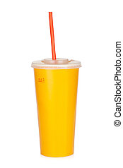 Fast food drink with straw. Isolated on white background