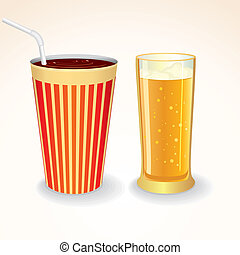 Fast Food Drinks Icon. Cola Cup and Glass of Beer