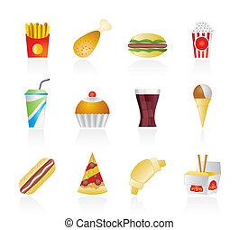 fast food, e, bevanda, icone