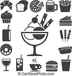 fast food, e, dessert, icona, set.