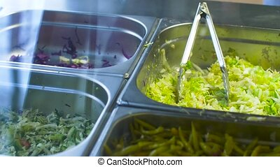 vegetable salads or stuffing in steel containers - fast...