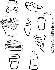 Fast food elements set in silhouette style. Vector...