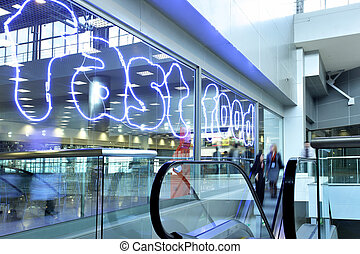 Fast food - Entrance to food court at modern shopping center