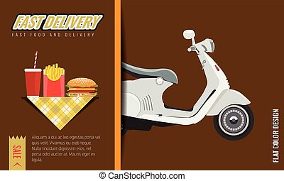 Fast food Fast and free delivery Poster or template design. Vector illustration.