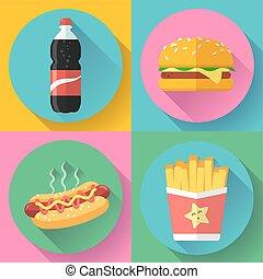 fast food flat design icon set. hamburger, cola, hot dog and french fries