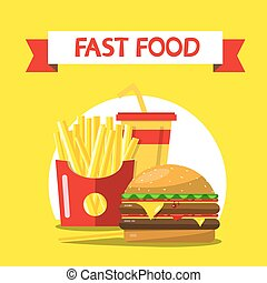 Fast Food Flat Design Vector Illustration on Yellow Background. French Fries, Hamburger and Drink.