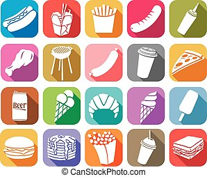 fast food flat icons collection