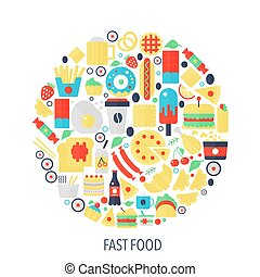 Fast food flat infographics icons in circle - color concept illustration for food cover, emblem, template.