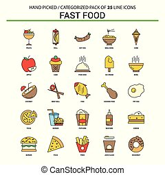 Fast food Flat Line Icon Set - Business Concept Icons Design