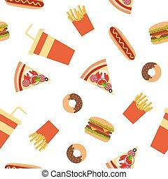 Fast food flat style seamless pattern.