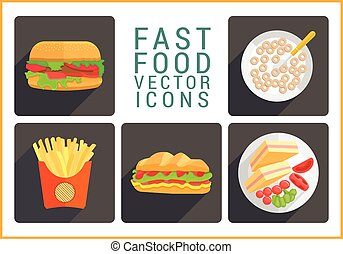 Fast food flat vector icons