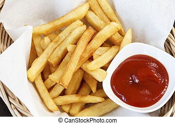fast food french fries with ketchup