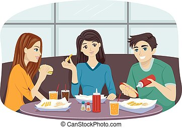 Fast Food Friends - Illustration of a Group of Friends...