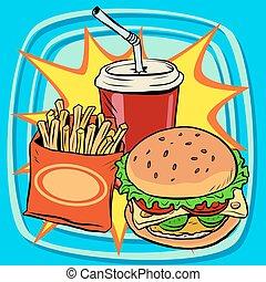 Fries burger Stock Illustrations. 13,267 Fries burger clip ...  Retro Clip Art Food