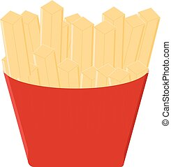 Fast food fries isolated on white background in flat style