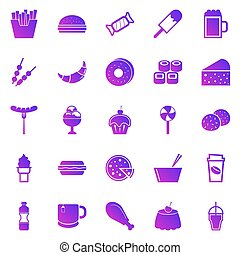 Fast food gradient icons on white background