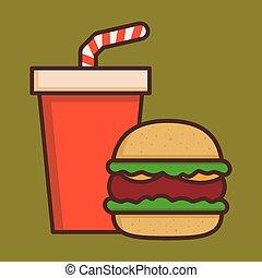 Fast Food Hamburger And Soda Drink