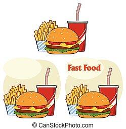 fast food, hamburger, bevanda, e, patatine fritte, cartone animato, disegno, semplice, design., vettore, collezione