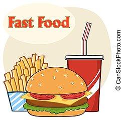 fast food, hamburger, bevanda, e, patatine fritte, cartone animato, disegno, semplice, disegno