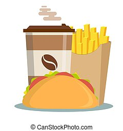 Fast Food . Hamburger Classic Burger Potatoes French Fries in . Package Box Blank Cardboard Cups for Coffee Soft Drinks- Take Away Handle Lunch Bags