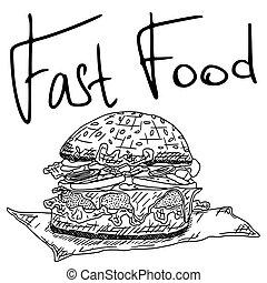 fast food hamburger doodle drawing sketch contour