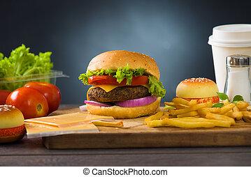 fast food hamburger, hot dog menu with burger, french fries...
