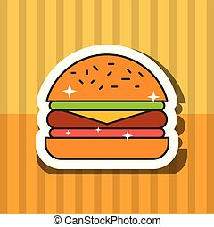 fast food hamburger meat tomato and letucce vector illustration