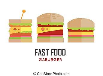 Fast Food Hamburger Vector Concept in Flat Design.