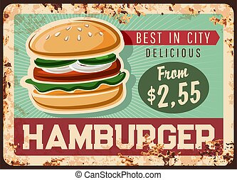 Fast food hamburger vector rusty metal plate