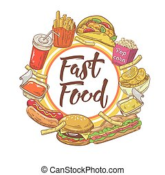 Fast Food Hand Drawn Design with Sandwich, Fries and Soda. Unhealthy Eating. Vector illustration