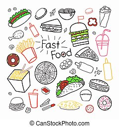 Fast Food Hand Drawn Elements Set with Burgers, Pizza and Fries. Unhealthy Eating. Vector illustration