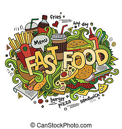Fast food hand lettering and doodles elements background. ...