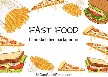 FAST FOOD hand skeched VECTOR background