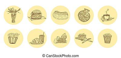 fast food harmful delicacies most favorite. vector