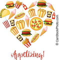 Fast food heart vector poster - Burgers and desserts fast...