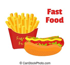 Fast food, hot dog, french fries. Cartoon flat style. Vector