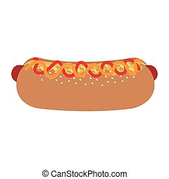 fast food hot dog with sauces