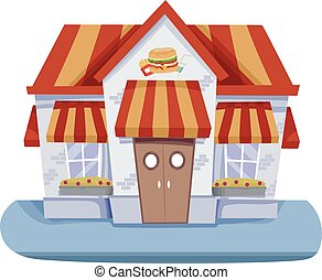 Fast Food House - Illustration Featuring the Facade of a...