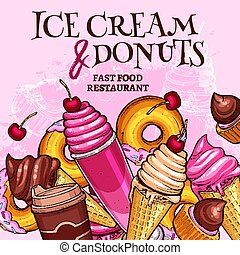 Fast food ice cream and donuts vector poster