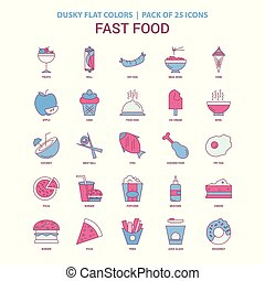 Fast food icon Dusky Flat color - Vintage 25 Icon Pack
