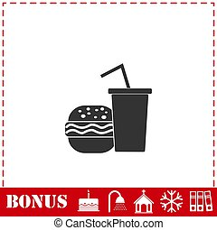 Fast food icon flat