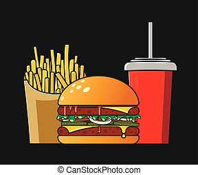 Fast food icon. Flat style. Colorful vector illustration on a dark background. Red cola paper cup with straw, small box of french fries and meat burger with cheese, ketchup and cucumbers - Vector
