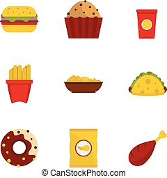 Fast food icon set, flat style