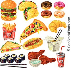 Fast Food Icon Set - Fast food icon set with not helpful...