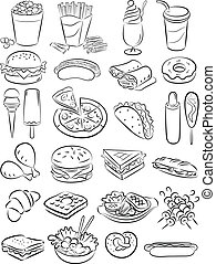 fast food icon set - vector illustration of fast food...