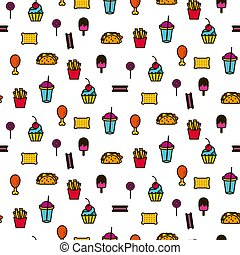 Fast food icon style seamless vector pattern.